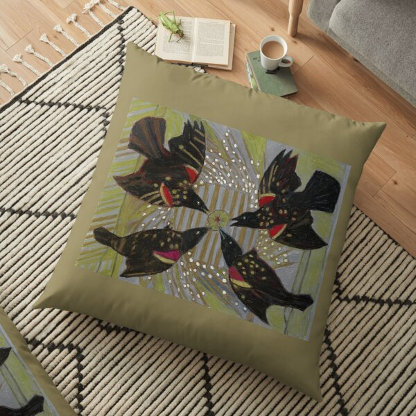 Four Calling Birds Floor Pillow