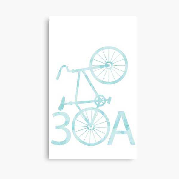 Watercolor 30A with Bike Canvas Print