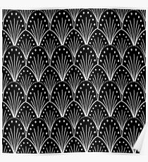 linocut 20s art deco pattern minimal black and white printmaking art Poster