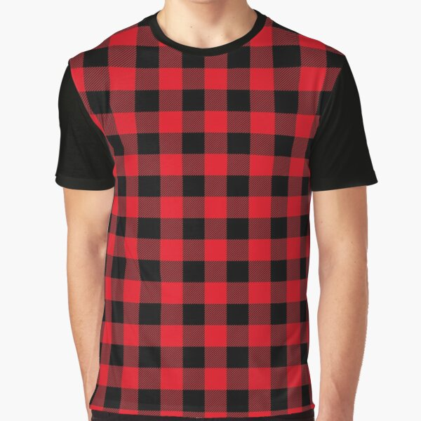 Red and Black Buffalo Plaid Pattern Graphic T-Shirt