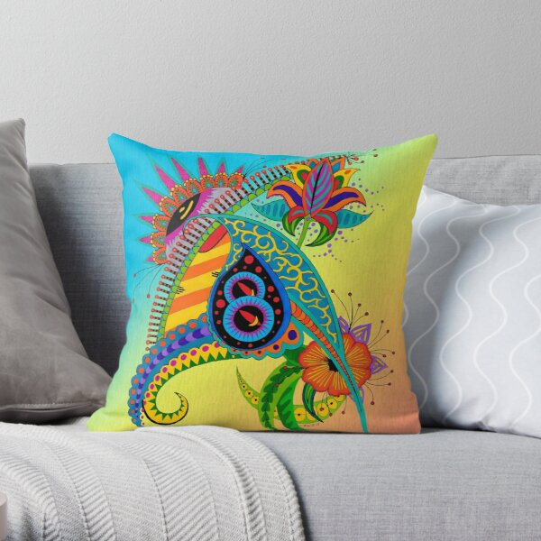 Design 51 single colored with bg Throw Pillow