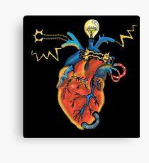 Electric Heart - Color Version, Black Background Canvas Print