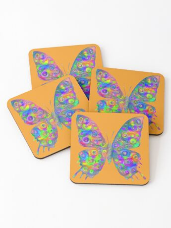 #DeepDream Motley Butterfly Coasters