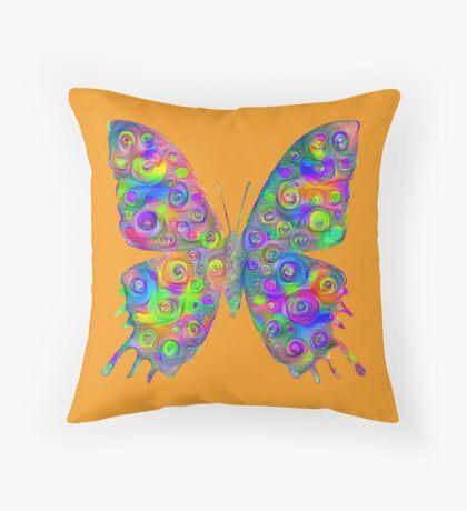 #DeepDream Motley Butterfly Throw Pillow
