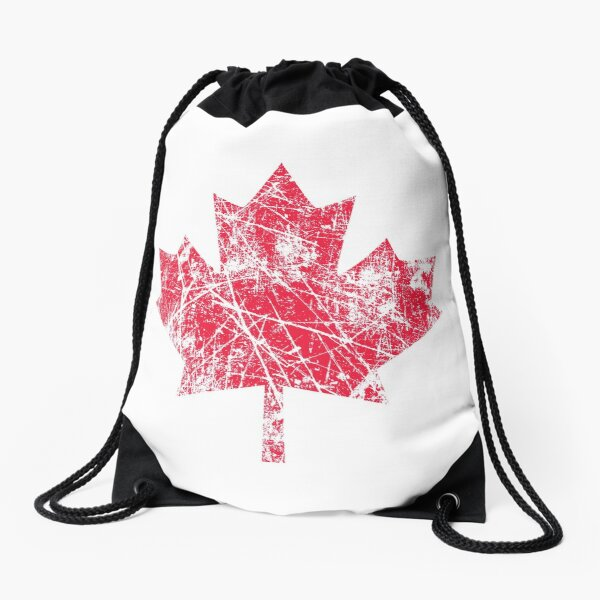 Canadian Maple Leaf Grunge Distressed Style in Red Drawstring Bag