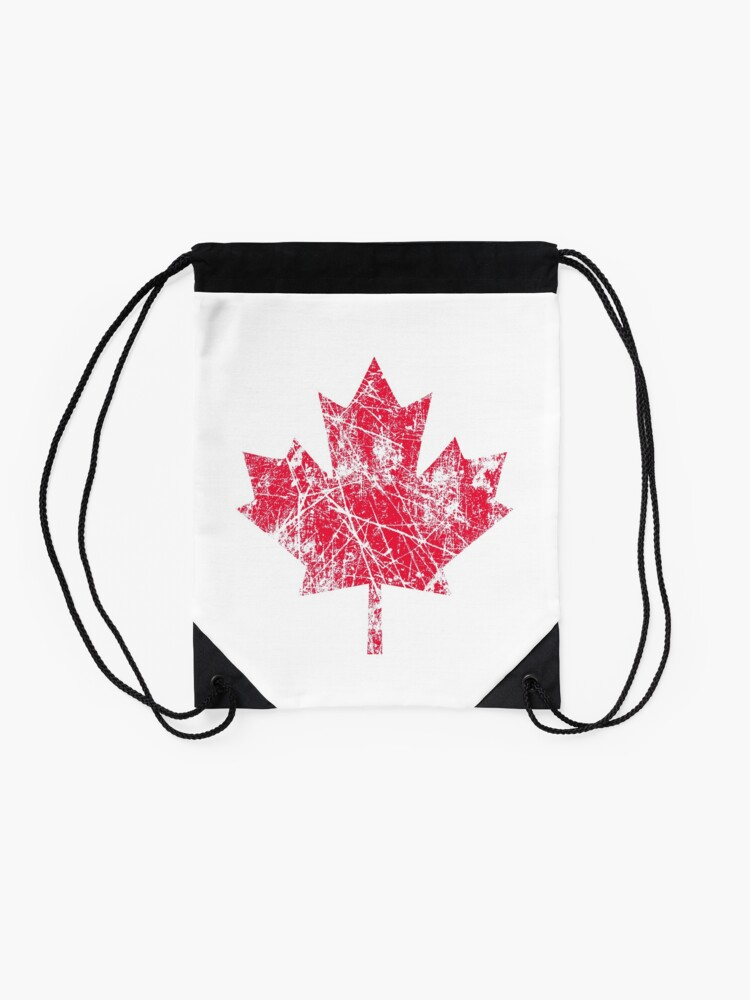 Alternate view of Canadian Maple Leaf Grunge Distressed Style in Red Drawstring Bag