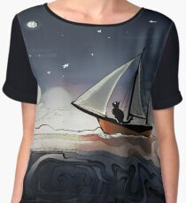 """""""Cat in a Boat"""" Digitally Colored Ink Illustration  Chiffon Top"""