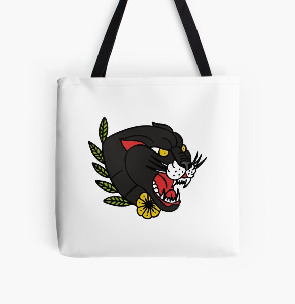 panther traditional tattoo flash All Over Print Tote Bag