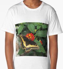 Beautiful yellow butterfly on Lantana flowers Long T-Shirt