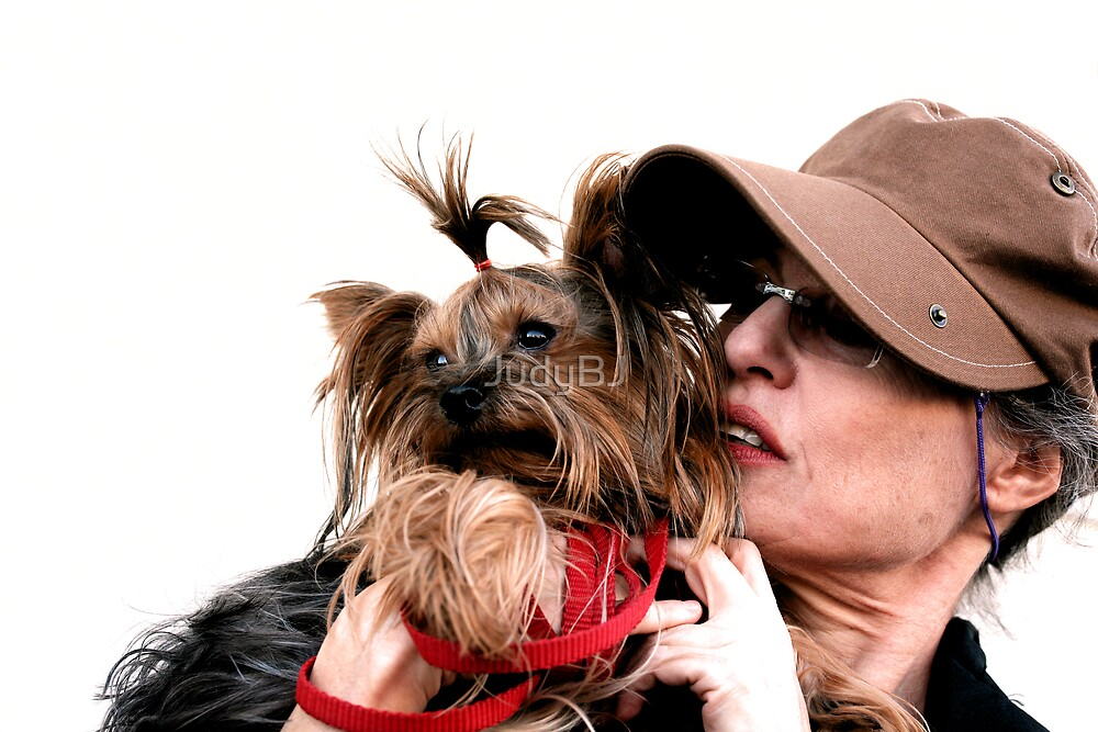 Yorkie and her lady by JudyBJ