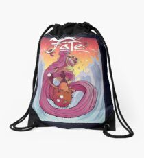 Sunflowers and Waves Drawstring Bag