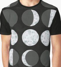 Moon Phases Chart - Dark Graphic T-Shirt