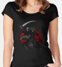 Plaguedoctor Red and Black Illustration Women's Fitted Scoop T-Shirt