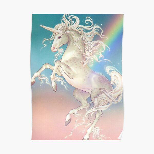 Vintage Rainbow Unicorn Poster