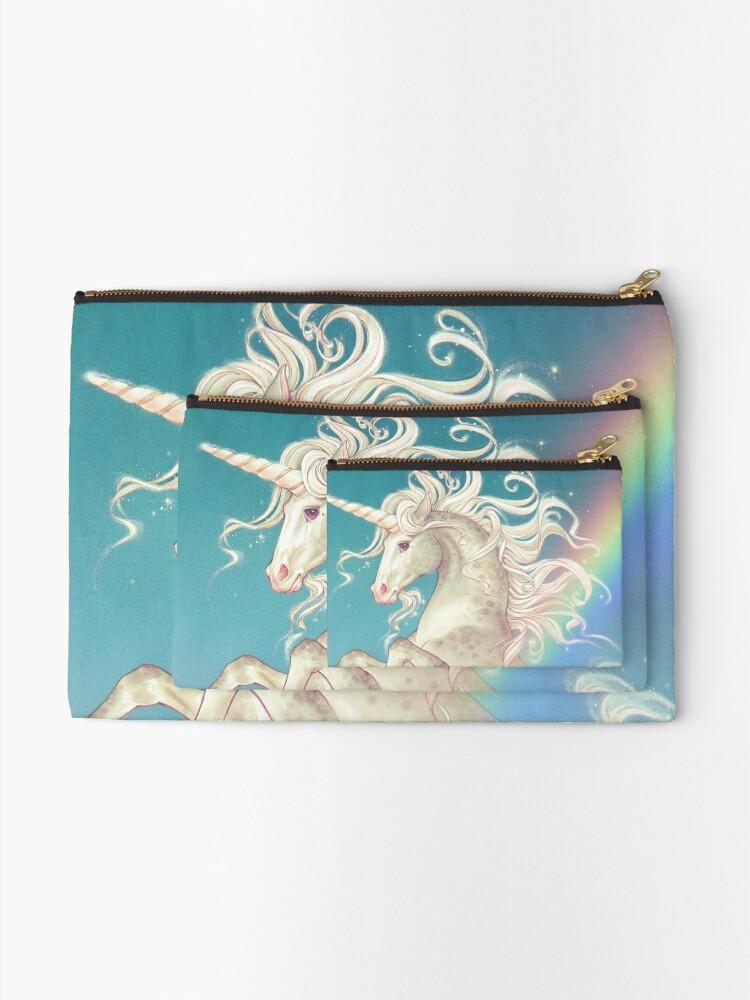 Alternate view of Vintage Rainbow Unicorn Zipper Pouch