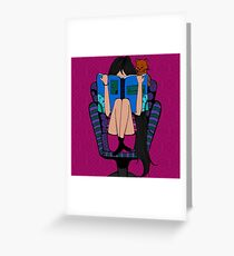Book Worm Sitting in Recliner  Greeting Card