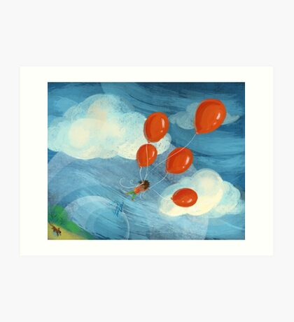 Balloon Lift Off 2 Up, Up and Away Art Print