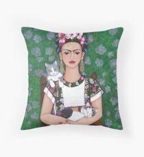 Frida cat lover Throw Pillow