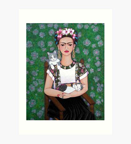 Frida cat lover Art Print