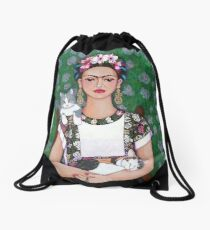 Frida cat lover Drawstring Bag