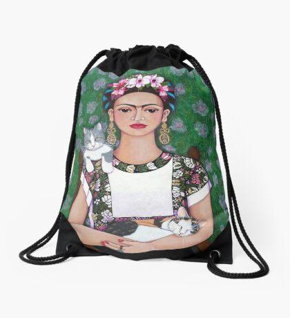Frida cat lover Drawstring Bag