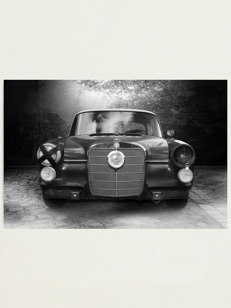 Mercedes Oldtimer Black White Photographic Print By Hottehue Redbubble