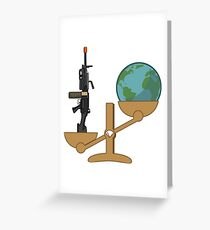 Tactical/Airsoft- Weight of the World vs M249 Greeting Card