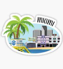 Miami Skyline Illustration Sticker