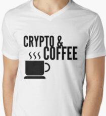 Coffee and Crypto Cryptocurrency HODL Gift Idea Men's V-Neck T-Shirt