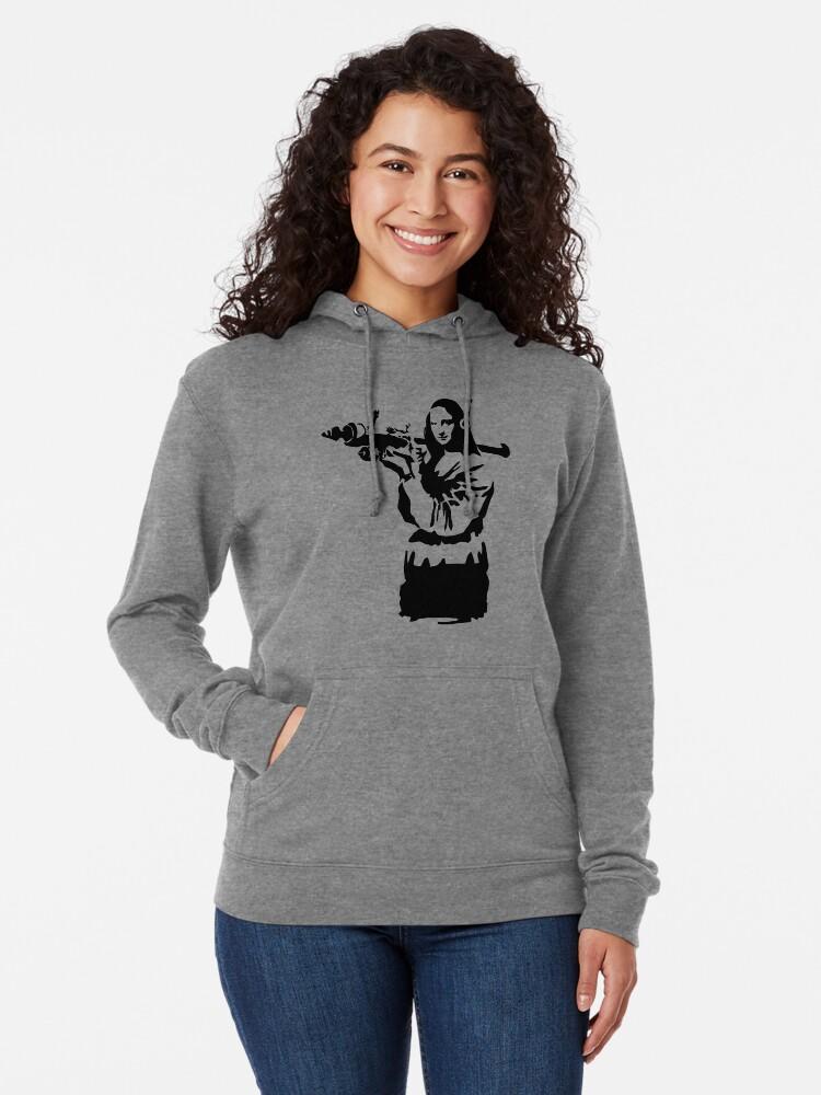 Grey Mona Lisa with Bazooka Banksy Style/_MA2780 Hoodie Hoody Sweater