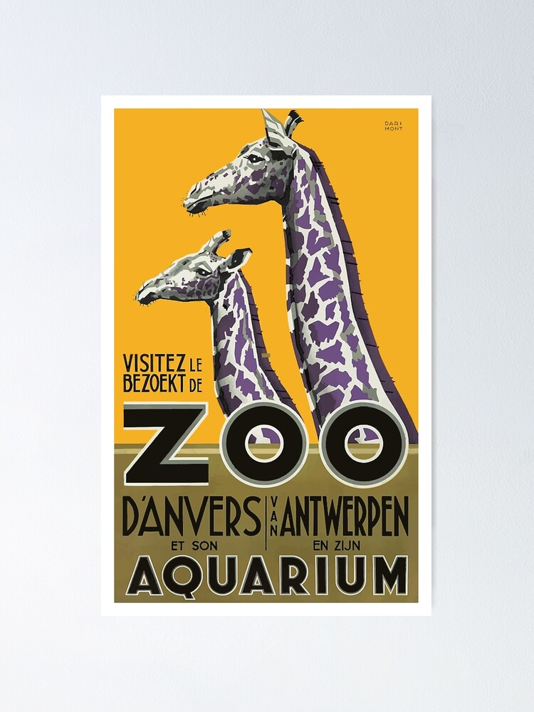 1935 Antwerp Zoo Giraffes Advertising Poster Poster By Retrographics Redbubble