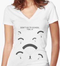 PUBG School Women's Fitted V-Neck T-Shirt