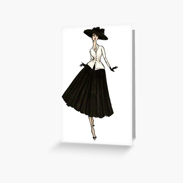 Vintage Paris Bar Suit New Look Fashion Illustration Greeting Card