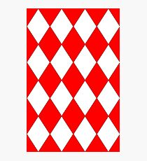 RED AND WHITE HARLEQUIN Photographic Print