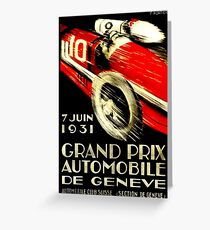 """GENEVA GRAND PRIX"" Vintage Auto Racing Print Greeting Card"
