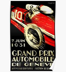 """GENF GRAND PRIX"" Vintage Auto Racing Print Poster"