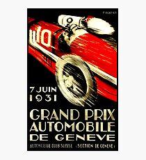"""GENEVA GRAND PRIX"" Vintage Auto Racing Print Photographic Print"