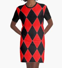 RED AND BLACK HARLEQUIN Graphic T-Shirt Dress