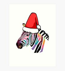 Santa Claus Hat Colorful Zebra Art Print