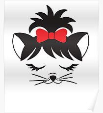 Cute Cat Face With Bow Design Poster