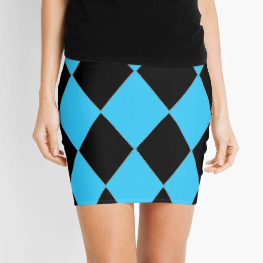 TURQUOISE AND BLACK HALEQUIN Mini Skirt