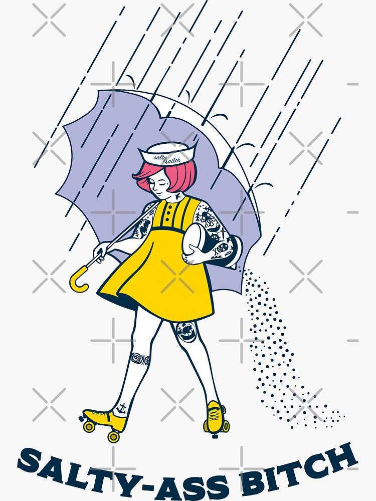 Salty-Ass Bitch - Morton Salt Vintage Roller Derby Girl by gertINK