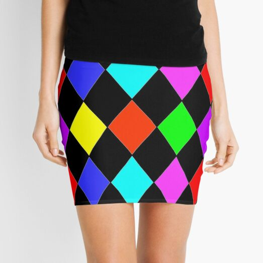MULTICOLOUR HARLEQUIN WITH PINK RED GREEN BLUE BLACK RED PURPLE AND YELLOW Mini Skirt