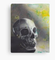 Realism Charcoal Drawing of Skull on Watercolor Stained Paper Canvas Print