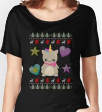 Ugly Christmas Sweater Cat Unicorn Knitted Style Women's Relaxed Fit T-Shirt