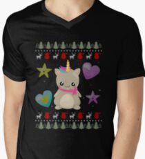 Ugly Christmas Sweater Cat Unicorn Knitted Style T-Shirt