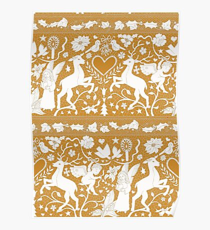 Antique lace - gold and cream - traditional Christmas pattern by Cecca Designs Poster