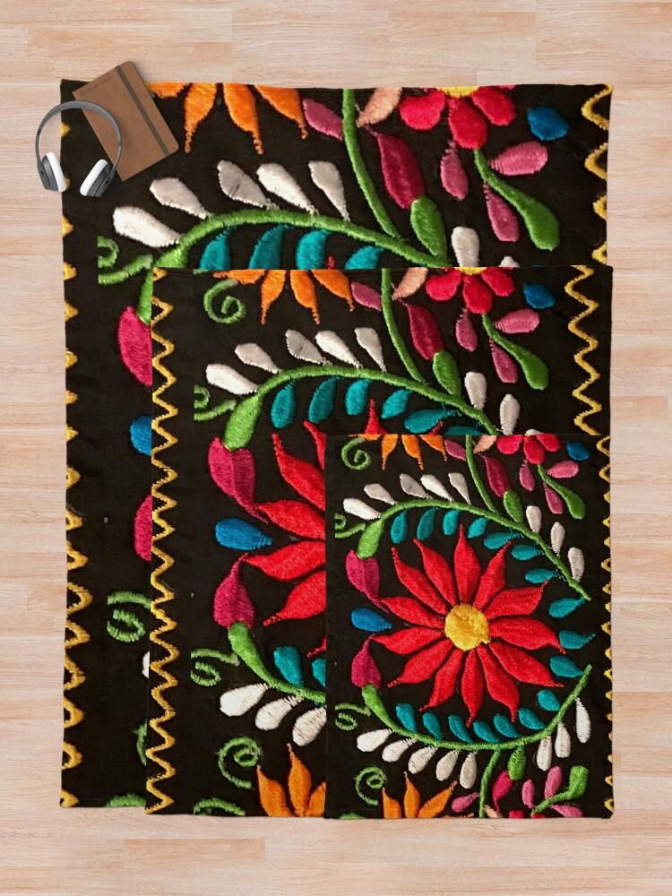Alternate view of Spanish Flowers Throw Blanket