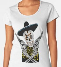 old west skeleton t- shirt, revolver, bang bang, SKULL, SKELETON, MEXICAN SKULL, MEXICAN SKELETON,  Women's Premium T-Shirt