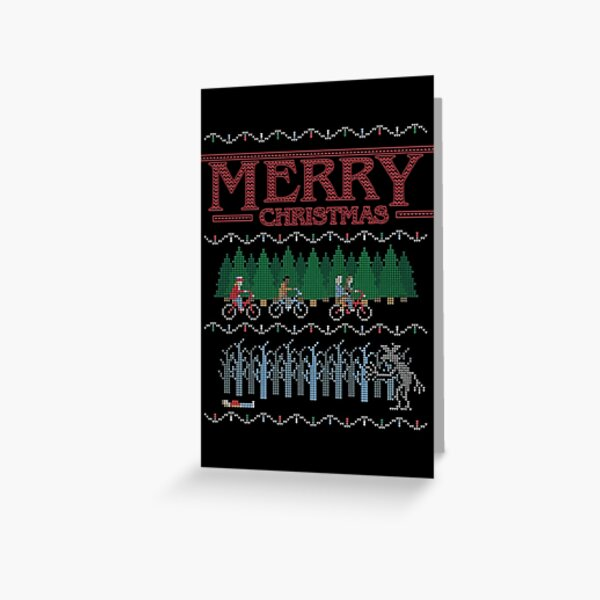 Stranger Things 2 - Merry Christmas Ugly Sweater XMAS CARD Greeting Card